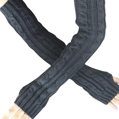 Bluestercool - Guantes sin dedos para Mujer (Tricotados, Largos)