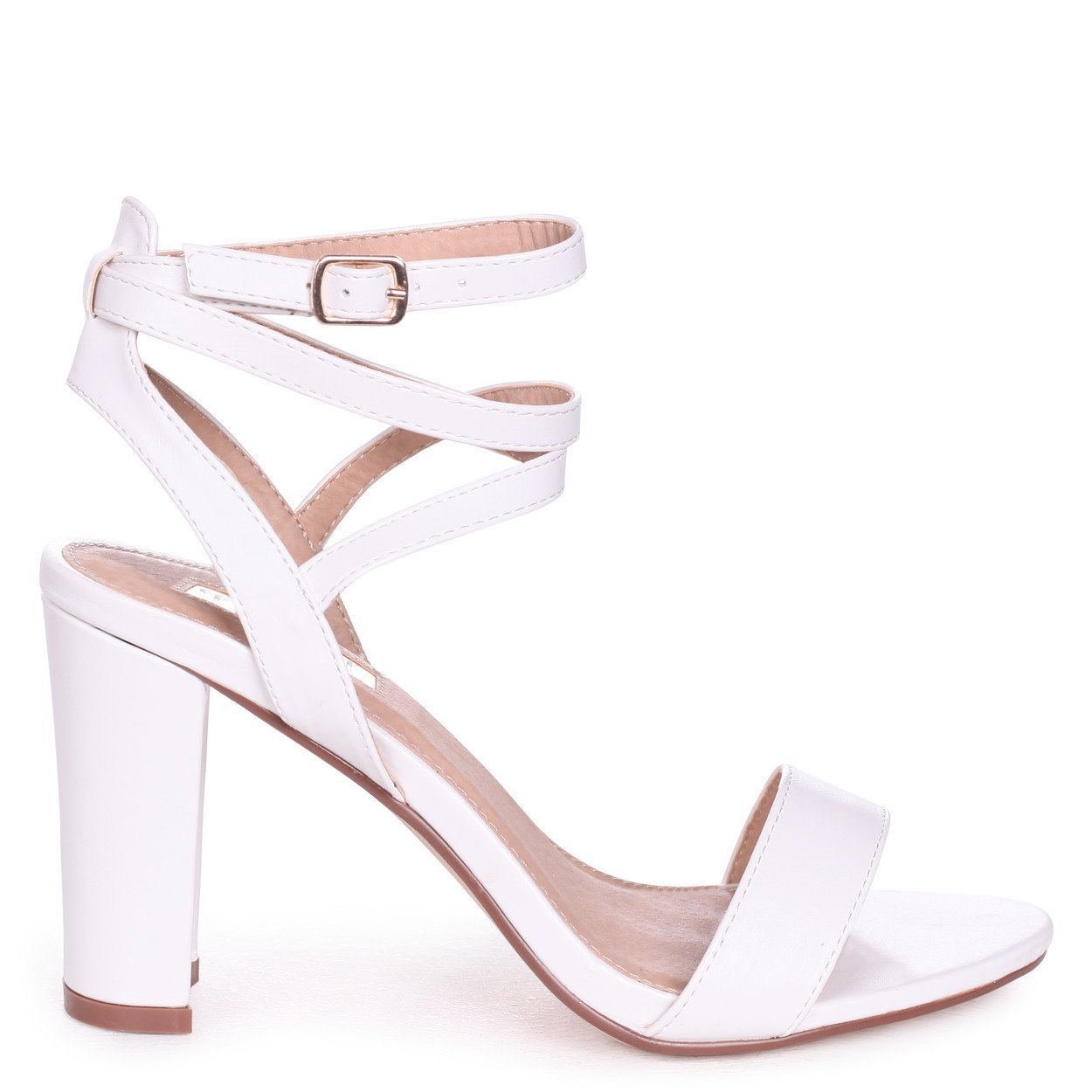 d63f566c5d Linzi Danni - White Nappa Block Heeled Sandal with Cross Over Ankle Strap:  Amazon.co.uk: Shoes & Bags
