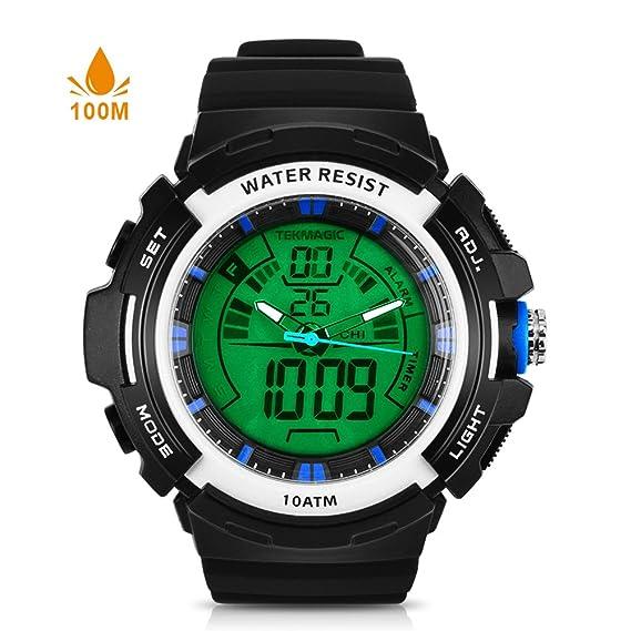 TEKMAGIC 10ATM - Reloj digital de buceo impermeable para natación y correr con cronómetro y pantalla