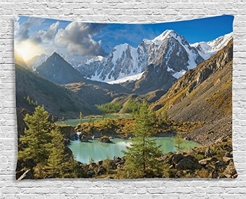 Ambesonne Lake House Decor Collection, Altai Mountains Chuya Ridge Lake Russia Siberia Sunbeams Morning Sky View, Bedroom Living Room Dorm Wall Hanging Tapestry, 80 X 60 Inches, Brown Blue (Blue Ridge Mountain Blend)