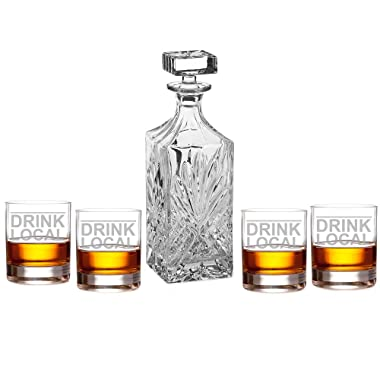 Drink Local Engraved Decanter Set with Rocks Glasses