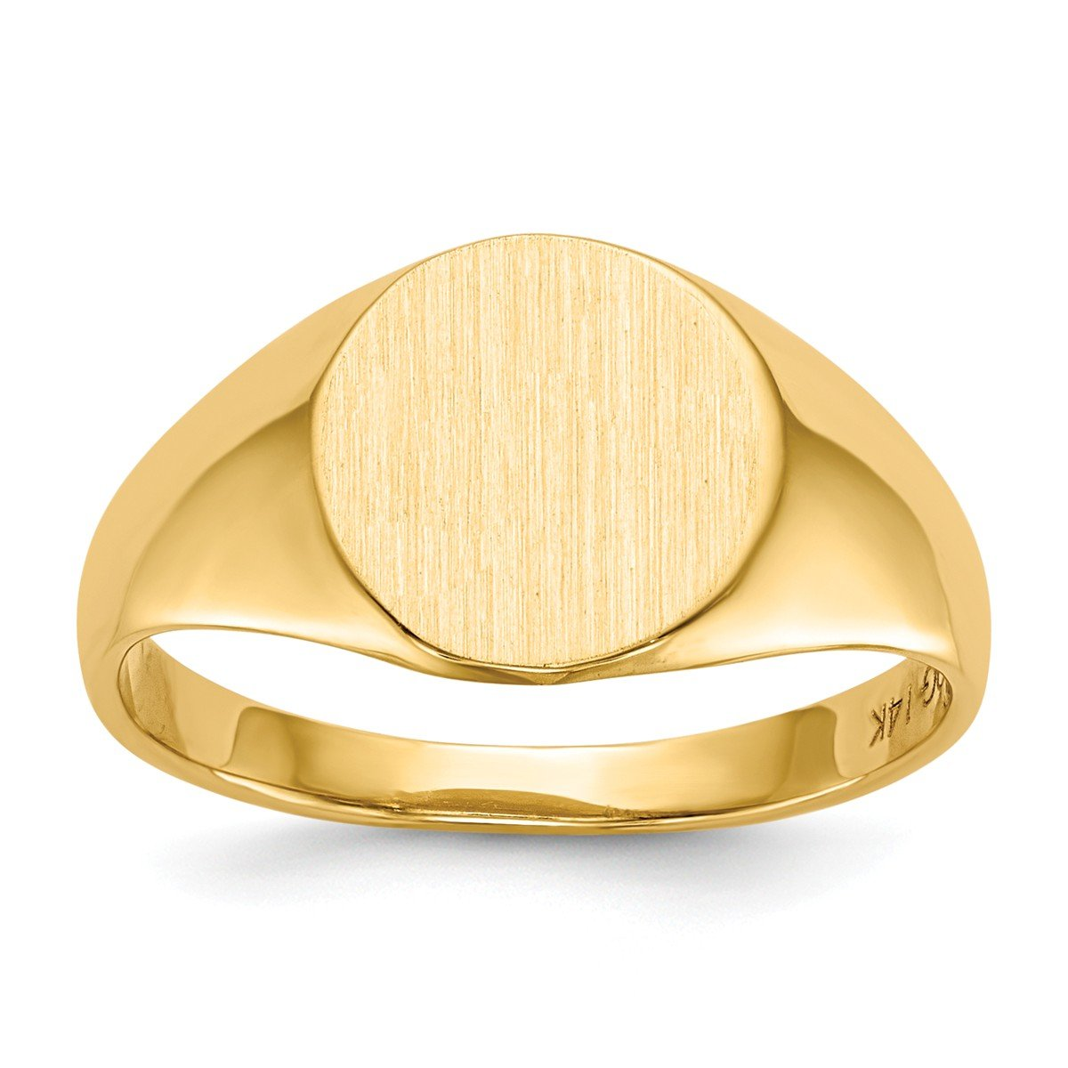 Roy Rose Jewelry 14K Yellow Gold Open Back 9.8mm Round Signet Ring Custom Personailzed with Free Engraving Available Initial or Monogram ~ Size 8 by Roy Rose Jewelry