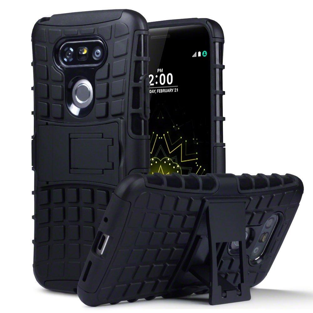 LG G5 Carcasa Híbrida de Doble Resistencia, y soporte para mesa - Negro Oscuro