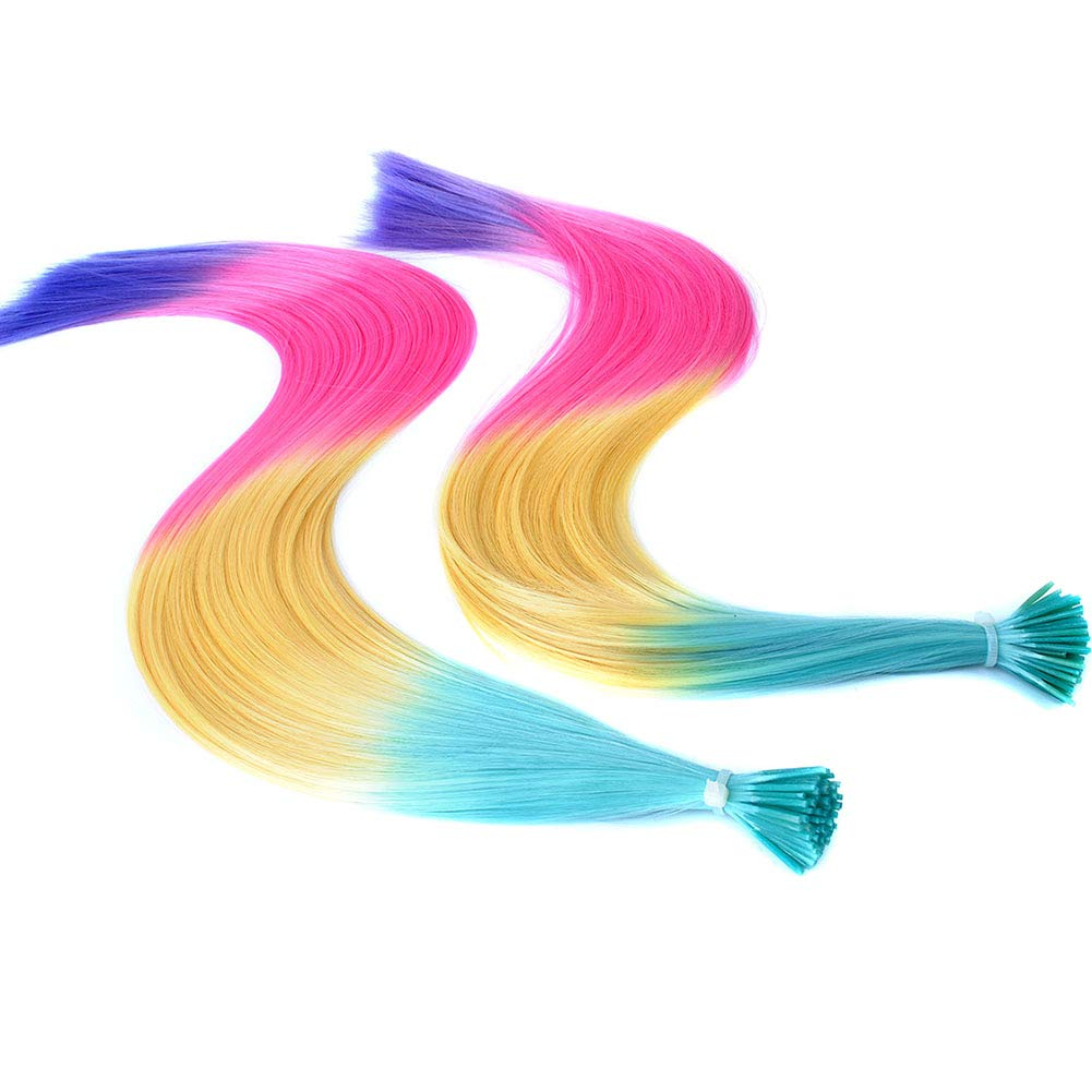Solid Colorful 20inch Womens Rainbow Synthetic Fiber Feather I Tip Hair Extensions with Tools (50 Strands, Rainbow Style C) by Paidian