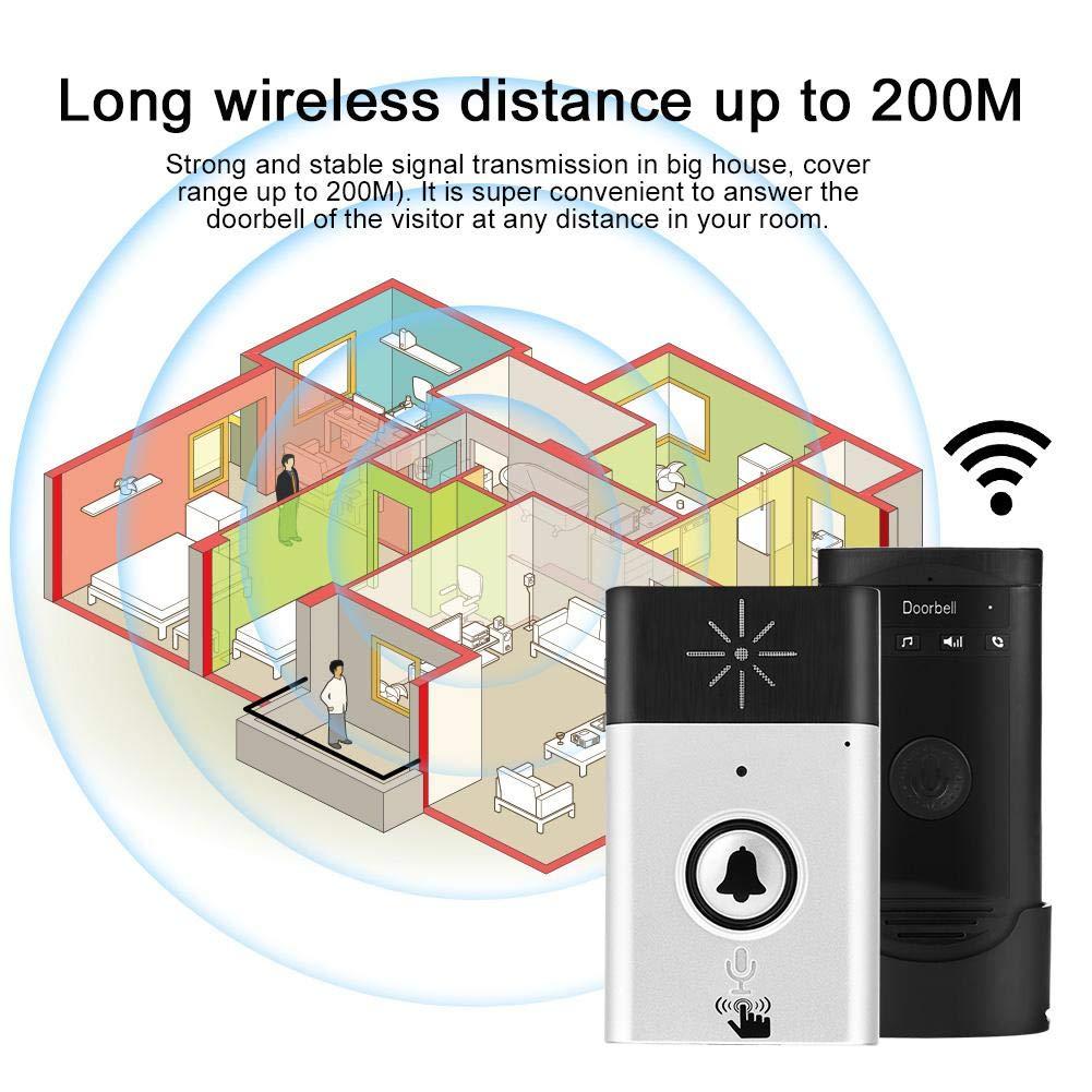 Silver Intercomunicador inal/ámbrico Timbre de la Puerta Intercomunicador de Voz Timbre bidireccional Inicio Timbre Intercomunicador Kit