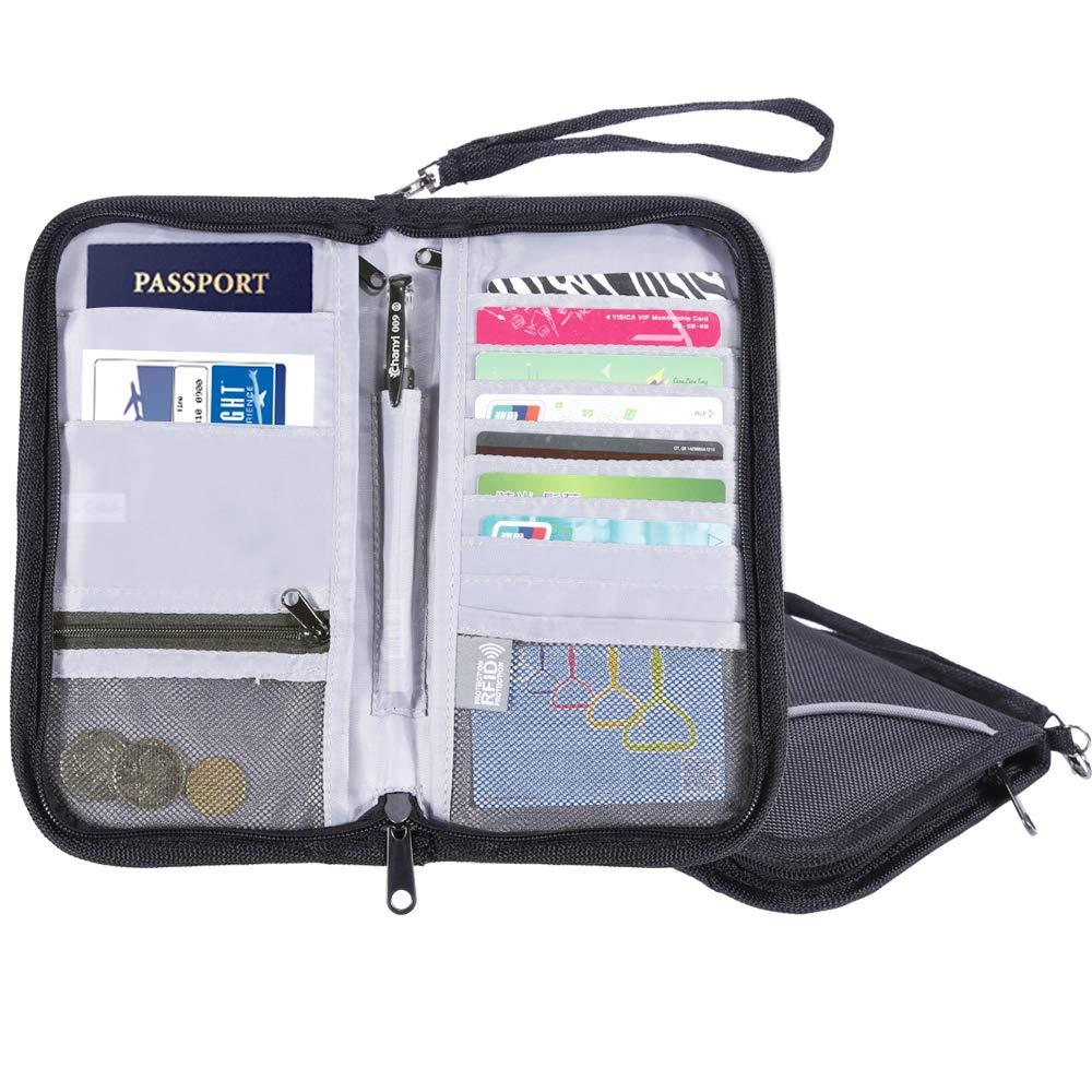 Nabance Porte-Passeport Portefeuille de Voyage Passeport Organiseur Blocage des Signaux RFID Voyage Pochette Portefeuille avec Dragonne