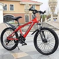 TATANE MTB Edad, 20-26 Pulgadas Variable La Velocidad Doble del Freno De Disco con Amortiguador De Estudiantes De Bicicletas De Montaña,Rojo,24inch: Amazon.es: Hogar