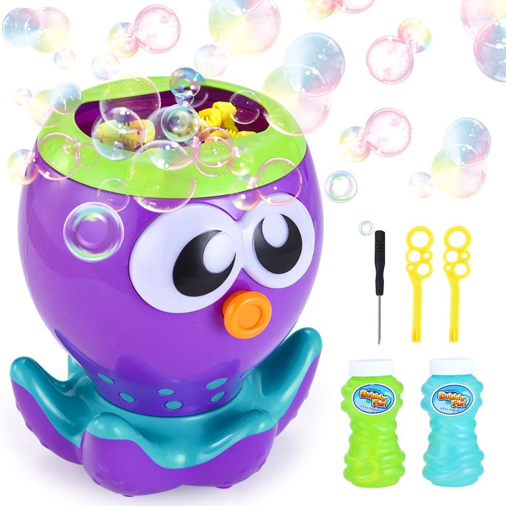 VATOS Bubble Machine for Kids Toddlers, Octopus Automatic Bubble Maker for Party Wedding, Bubble Blower Toy Gift for Boys and Girls Outdoor & Indoor Games,1000+ Bubbles per Min with 2 Bubble Solution