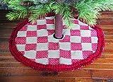 Burlap Tree Skirt w/ Natural Burlap & Red Squares, 32'' Diameter