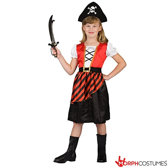 Girls Red Pirate Costume Small Med & Large Sizes (Small)