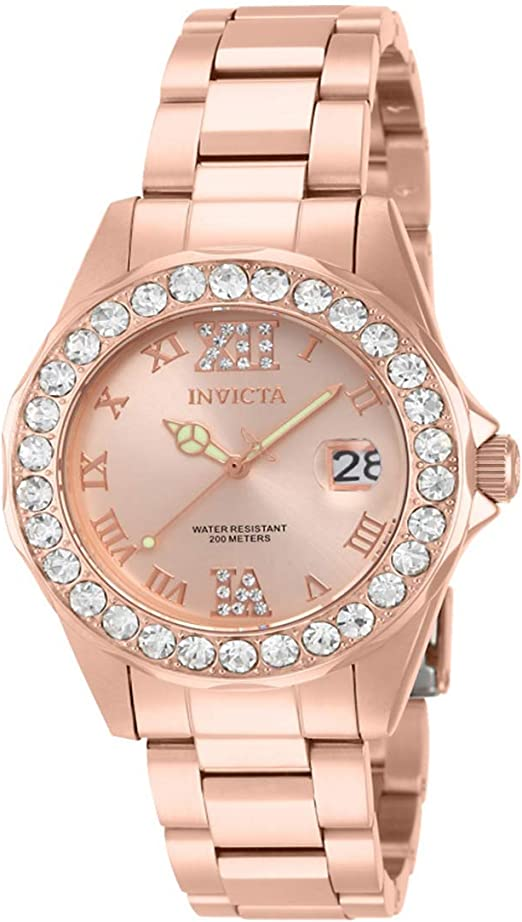 Invicta Women's Pro Diver 38mm Rose Gold Tone Stainless Steel Quartz Watch, Rose Gold (Model: 15253)