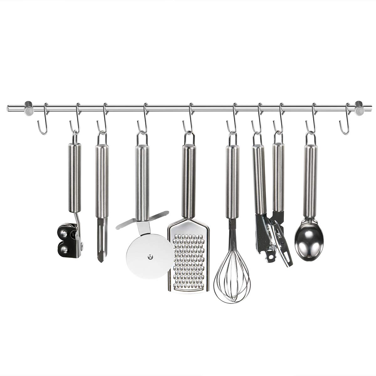 Kitchen Rail Rack HCHUANG Wall Rail with 22-Inch Wall Mounted Utensil Hanging Rack 304 Stainless Steel Hanger Hooks for Kitchen Tools, Pot, Towel (10 Sliding Hooks)