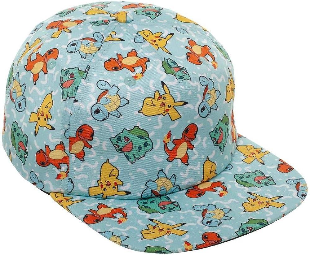 Bulbasaur Bioworld Pok/émon 90s Pikachu Charmander and Squirtle Snapback Hat Cap