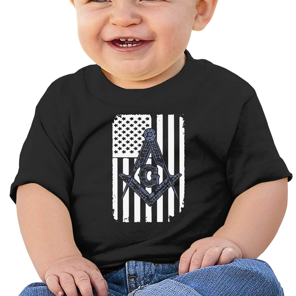 JVNSS Freemason USA Flag Logo Baby T-Shirt Little Baby Cotton T Shirts Crew Neck Cotton Tops for 6M-2T Baby