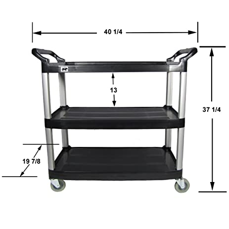 crayata 3 shelf rolling utility cart with heavy duty plastic shelves and oversized wheels black