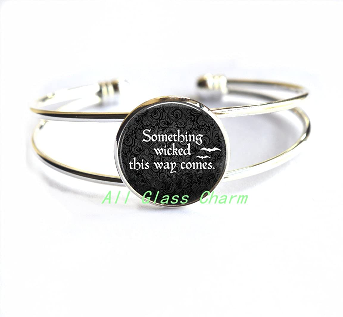 Quote Halloween Quote Bracelet,Halloween Quote Bracelets,AS104 Charming Bracelet,Something Wicked This Way Comes