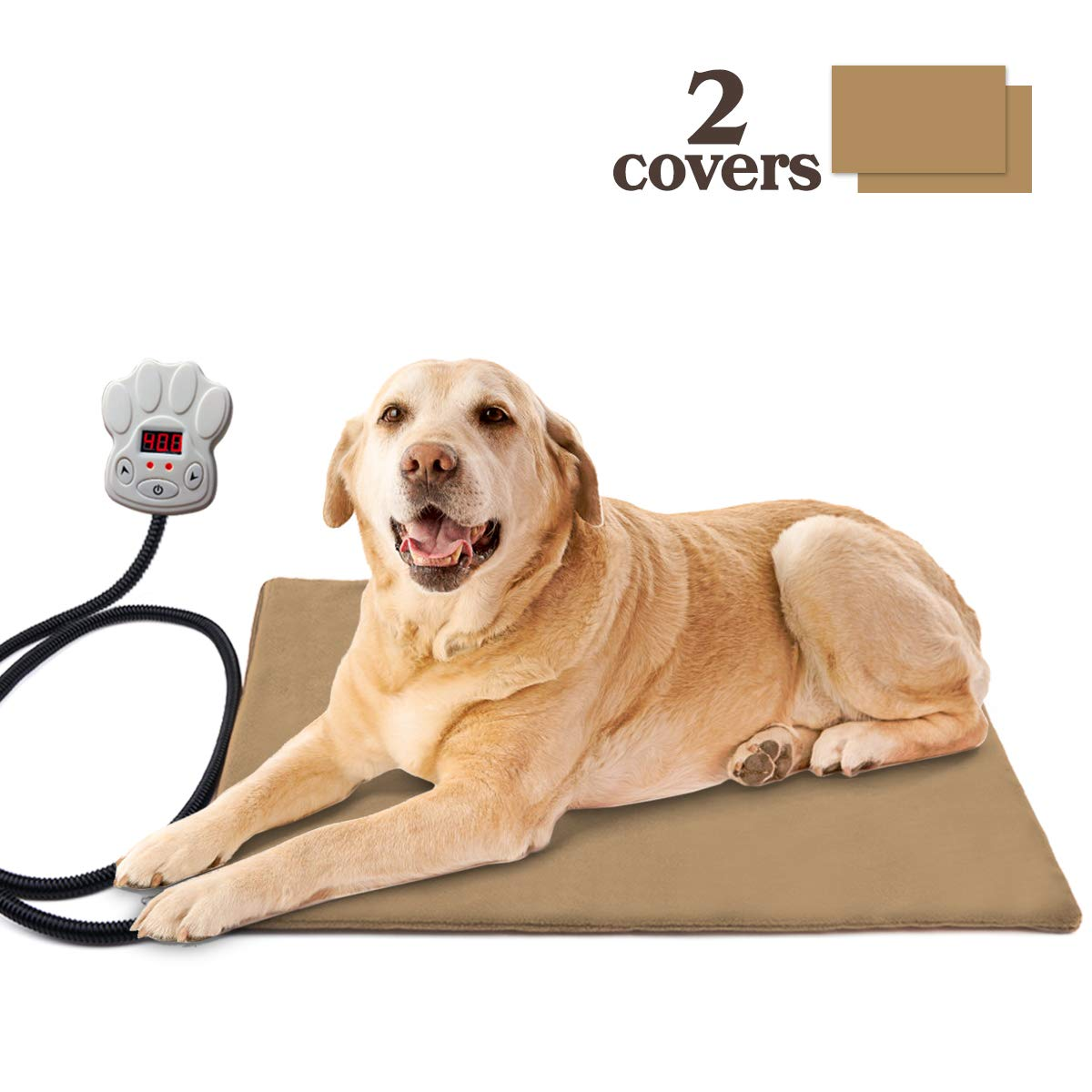 L BACKTURE Pet Heating Pad, Dog Cat Electric Waterproof Heating Pad Indoor Adjustable Warming Mat with Chew Resistant Steel Cord,Overheat Predection,Soft Removable Cover 23.6x15.8'' (L)