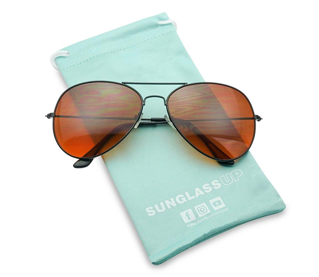 80's Classic Casual Retro Driving Blue Blocking Lens Aviator Sunglasses by SunglassUP