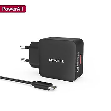 Cargador de pared, cargador de viaje BC Master 18W USB de carga rápida con QC 2.0, adaptador del cargador para iPhone, iPad, Samsung Galaxy, baterías ...