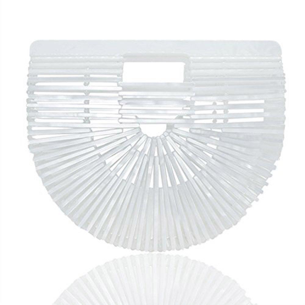 Womens Ark Bamboo/Acrylic Clutch Handbag Large Tote Bag Beach Bag (White)