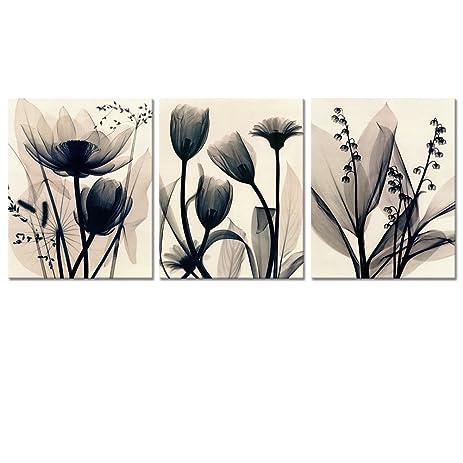 Amazon visual art decor flowers canvas wall art decor black and visual art decor flowers canvas wall art decor black and white floral painting prints photograph picture mightylinksfo