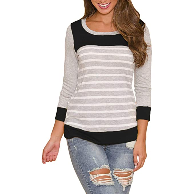 71982faa88 Image Unavailable. Image not available for. Color: Big Promotions Casual  Women Tripe Splicing Round Neck Long Sleeve Cotton T-Shirt Blouse Tops