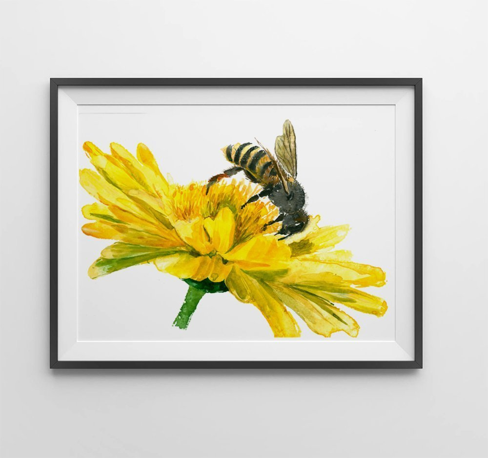 Amazon.com: Honey bee art #A051. Honey Bee art print (8x10).Honey ...