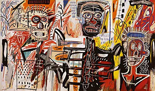 Jean-Michel Basquiat Philistines 1982 - Original Graffiti Art Canvas Paintings Hand Painted Reproduction Rolled - 120X70 cm (Approx. 48X28 inch) for Wall Decoration (Vintage Oil Original Painting)