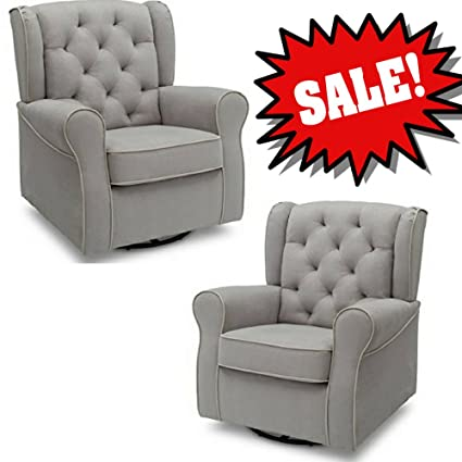 Microfiber Swivel Chair Grey Buttoned Tufted Padded Plush Thick Steel And  Fabric Upholstered Glider Swiveling Rocker