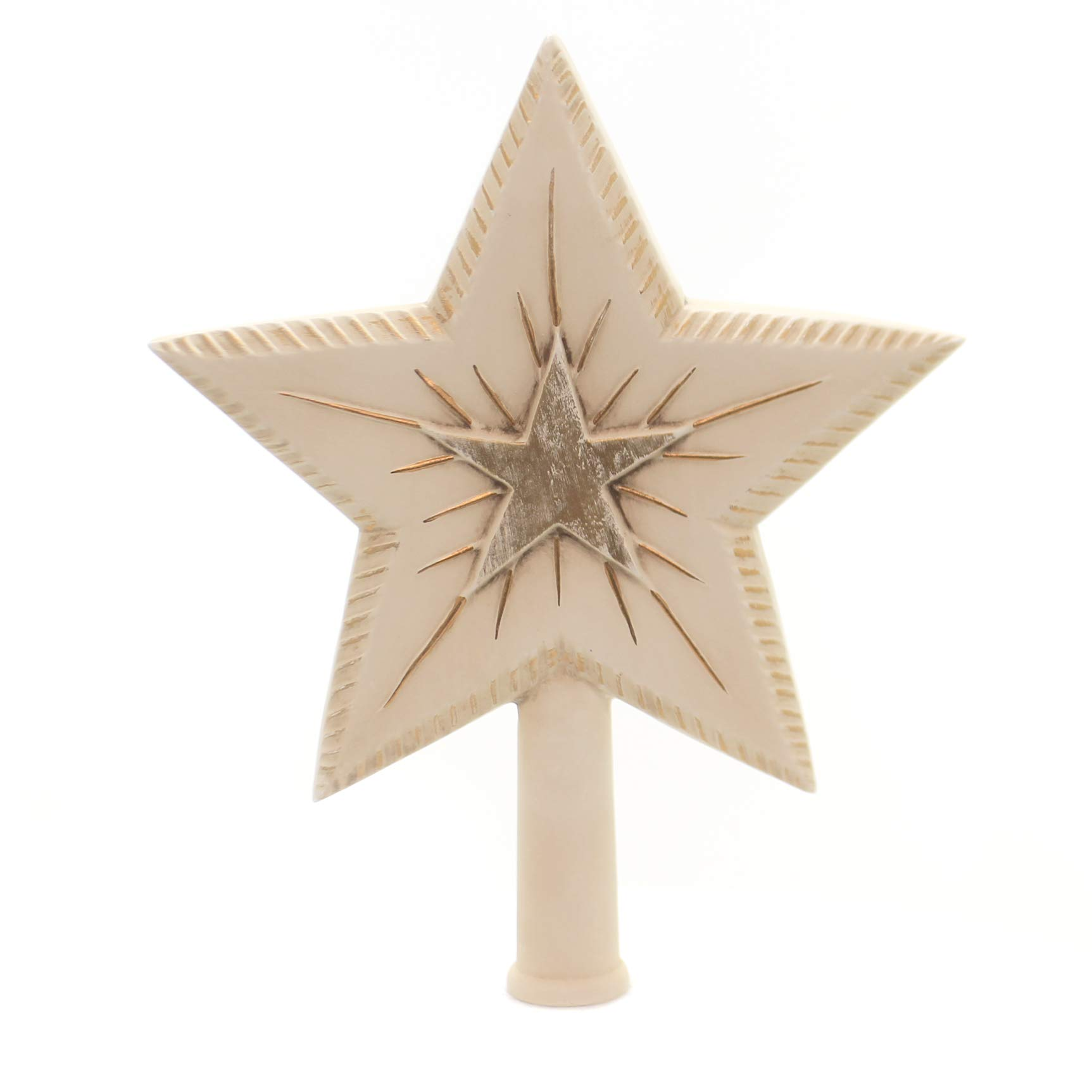 Marolin Big Binary Star - Antique White Paper Mache Treetopper Finial 200316