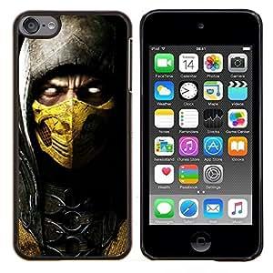 Diablo héroe en Máscara de Oro- Metal de aluminio y de plástico duro Caja del teléfono - Negro - iPod Touch 6