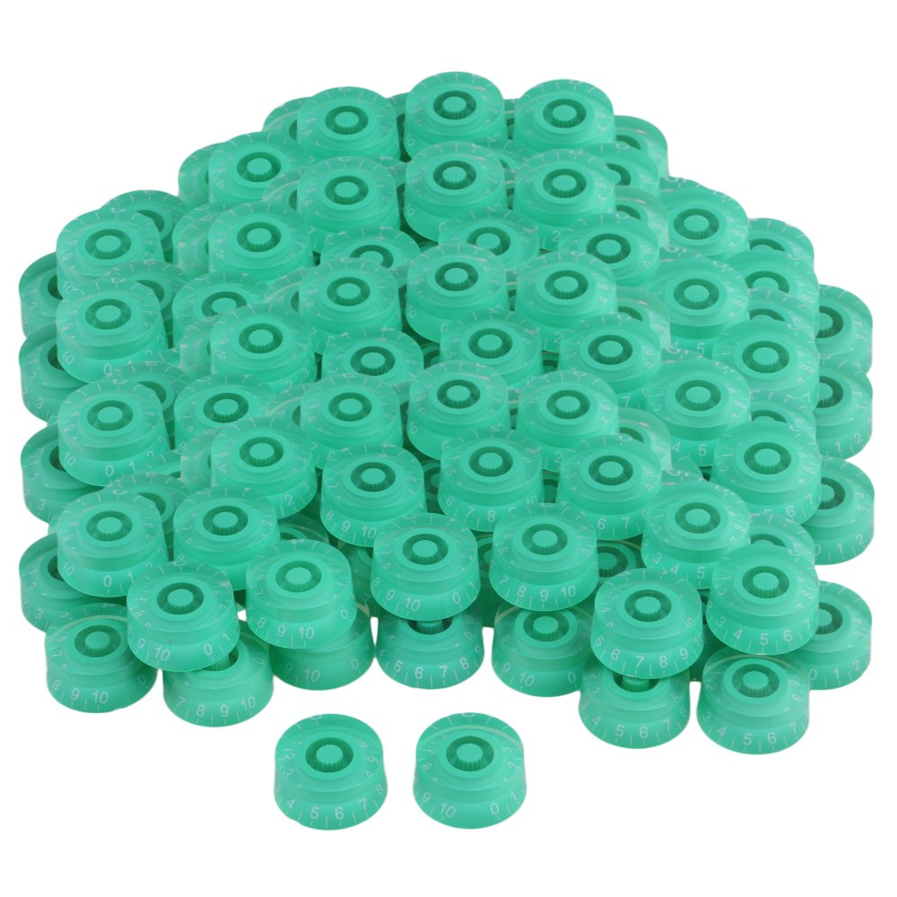 Yibuy Green Right Hand Plastic Electric Guitar Control Knobs with White Number Scale Set of 200