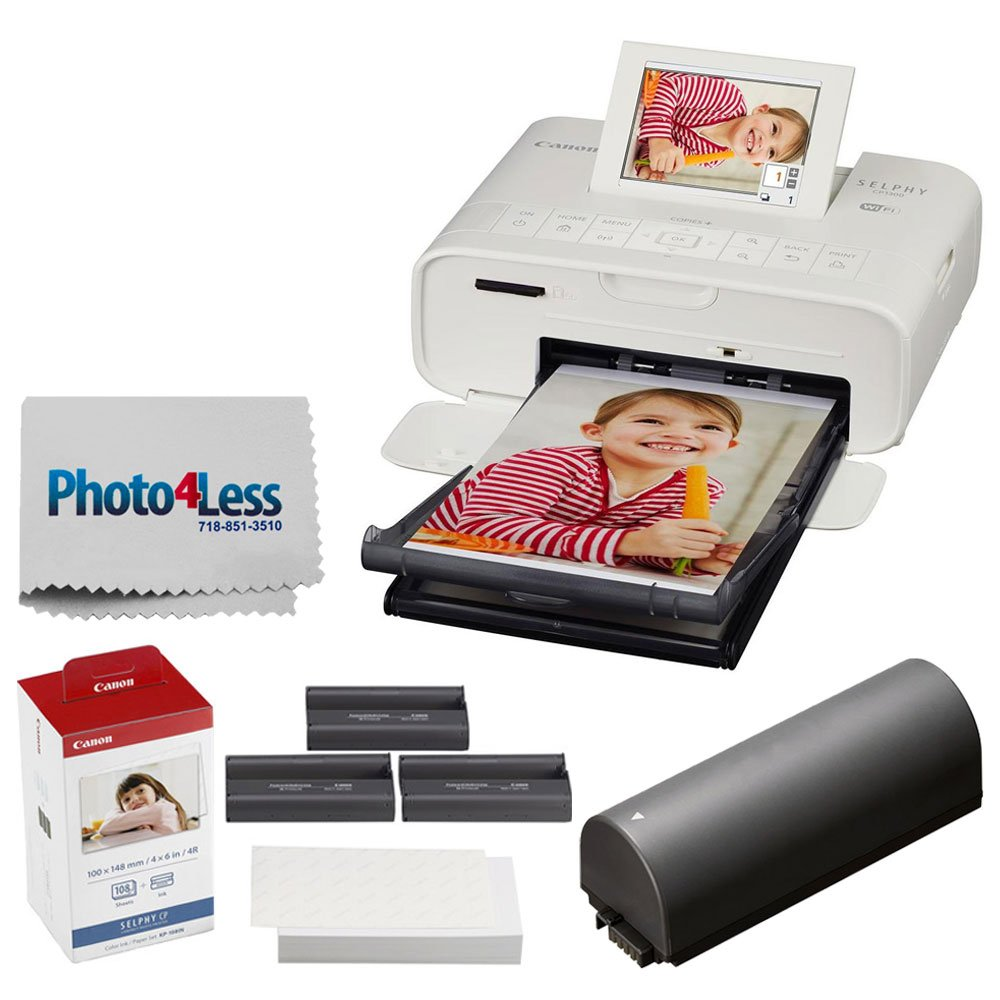 Canon SELPHY CP1300 Compact Photo Printer (White) + Canon KP-108IN Color Ink and Paper Set + Replacement Battery + Photo4Less Cleaning Cloth - Deluxe Value Printing Bundle
