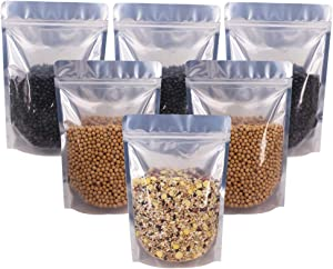 Belinlen 100 Pack 6 x 9 Inch Stand Up Pouch Bags Zipper Mylar Bags Clear Front with Aluminum Foil Back Reusable Food Storage Bags for Multipurpose with Gusset Bottom(5.5mil Thickness)
