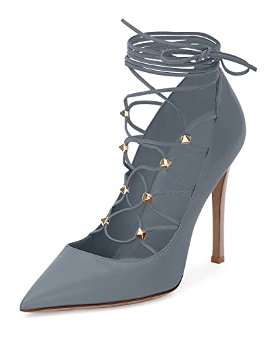 c501352aa53f0 Valentino Rockstud Leather Lace-Up 105mm Pump Gladiator Light Stone Size  37: Amazon.co.uk: Shoes & Bags