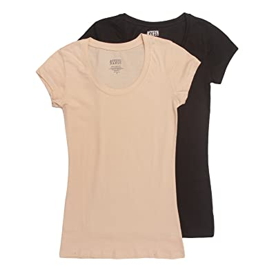 Active Basic Womens Plain Basic Deep Scoop Neck T-Shirt with Cap Sleeves: Clothing