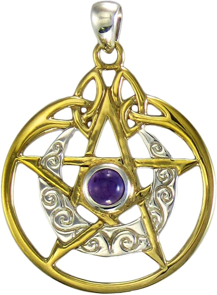 Sterling Silver Gold Plated Crescent Moon Pentacle Pentagram Pendant w// Amethyst