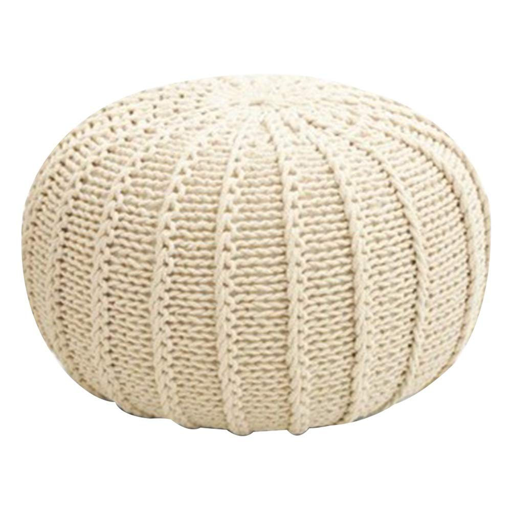 White 45x45x15cm LSXIAO Pouffes And Footstools Cotton Thread Hand Made Washable Comfortable Environmentally Friendly, 15 colors, 4 Sizes (color   Yellow, Size   35x35x25cm)