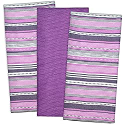 "Cotton Pre Shrunk Urban Stripe Dish Towels, 20x30"" Set of 3, Kitchen Towels for Cooking and Baking-Eggplant"