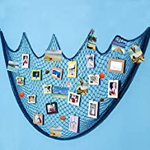 Ecjiuyi Three Days Deals!!!Photo Hanging Display Frames, Mediterranean Decorative Nautical Fish Net With Sea Shells and Clips for Dorm Home Wall Decorations(Blue)