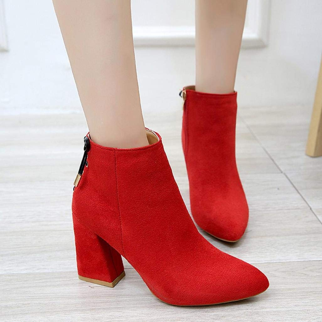 Gyoume Winter High Heel Boots Women Wedge Thick Bottom Boots Shoes Zipper Boots Bow Tie Dress Shoes