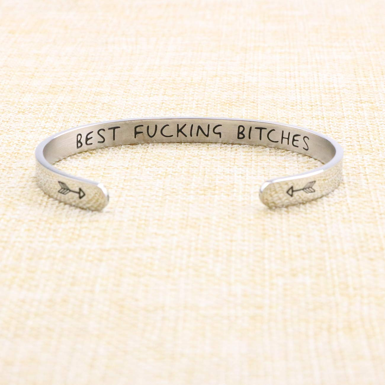 Yiyang Hand Stamped Bracelet Cuff Bangle for Women Wake Up Kick Ass Repeat Stainless Steel Feminist Jewelry