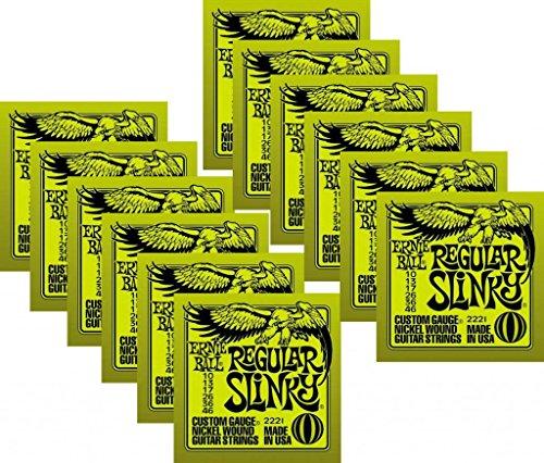 LOT OF 12 - Ernie Ball PO2221^12 Regular Slinky Electric Guitar Strings, Nickel Wound by Ernie Ball