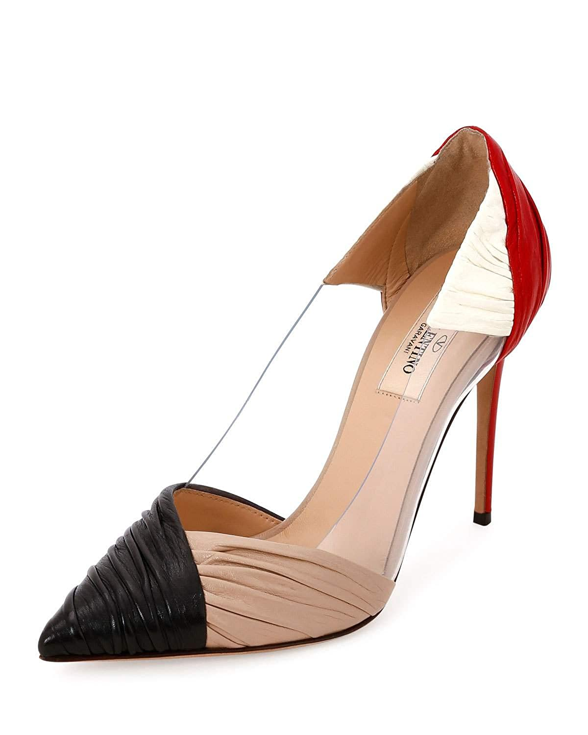 962ec4e7cc Amazon.com | Valentino Garavani B-Drape Leather 100mm Pump, Red/Black/Ivory/ Poudre 40 | Pumps