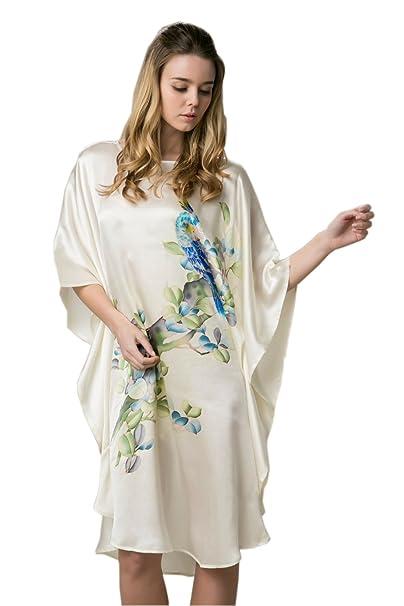 Prettystern Mano Kimono A De Camisón Pintado Con Del Seda 100 8n0qWAr68
