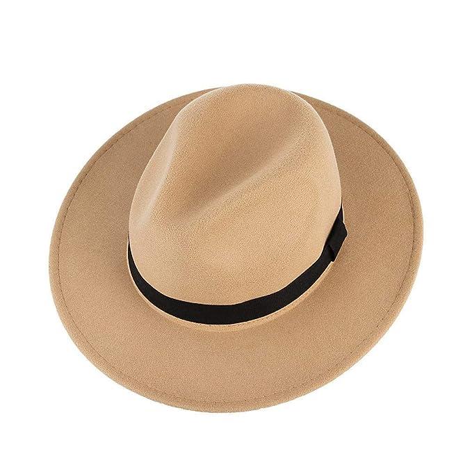 Cappello da Uomo con Cappello Elegante Tesa Larga A Cappello A Cilindro Cappello  da Viaggio Cappello da Uomo con Cappello di Grosgrain Cappello da Festa ... 71ac8f4c00e5