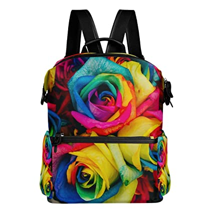 TIZORAX Rainbow Color Roses Flores Mochila Escolar Colegio Bolsas de Días Bolsas de Libros para Adolescentes