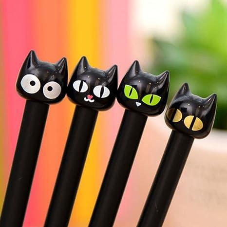 4 bolígrafos de gel de 0,5 mm con diseño de gato negro para escuela