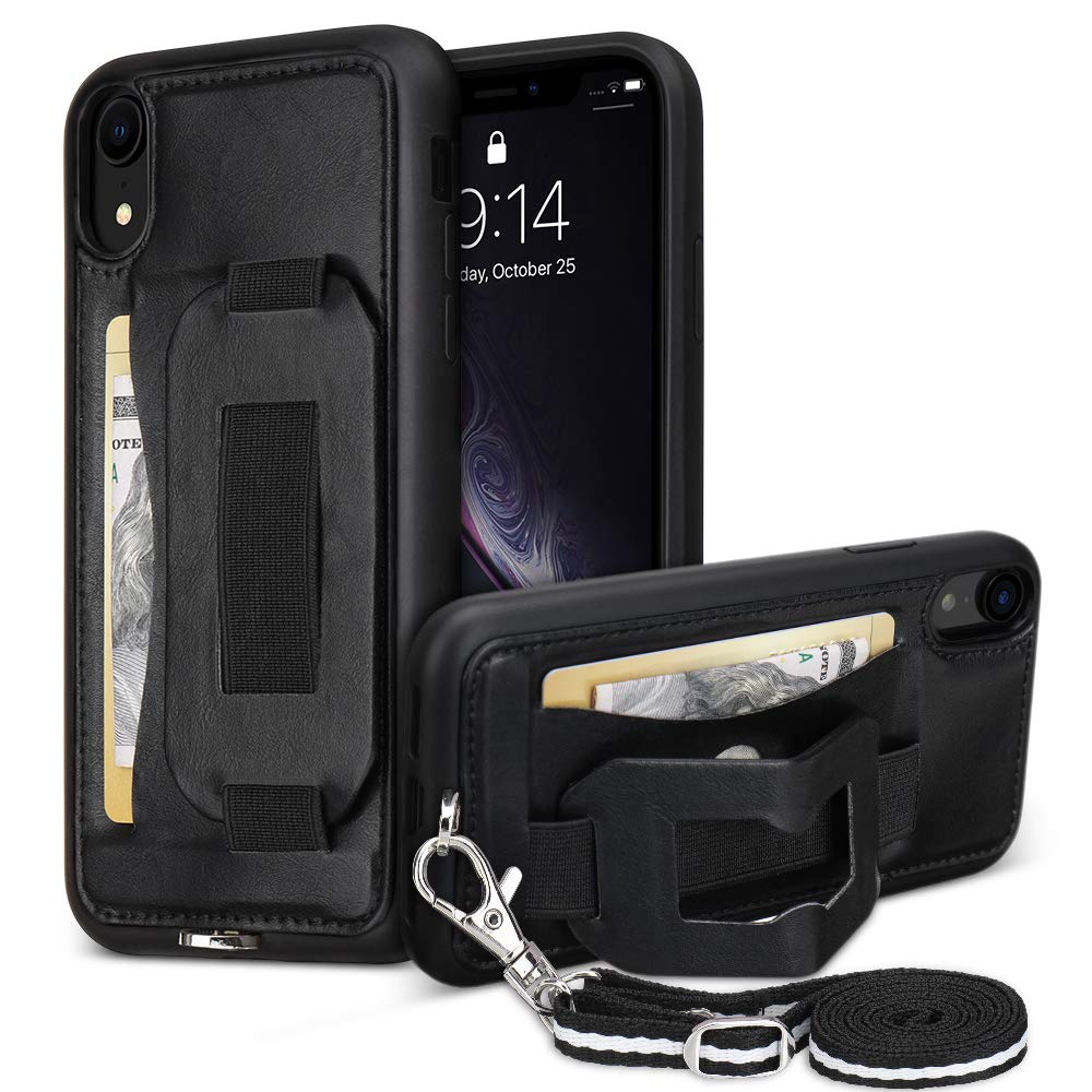 iPhone XR Case Wallet with Stand Neck Lanyard Wrist Strap TOOVREN Anti-Scratch Cases with Card Holder Bumper Protective Phone Cover for Apple iPhone XR 6.1 inch Black by TOOVREN
