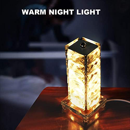 Crystal Table lamp Stainless Steel Bedroom LED Decoration Bedside Table lamp Living Room Dining Room Table lamp, Night Light, Bedroom Table lamp